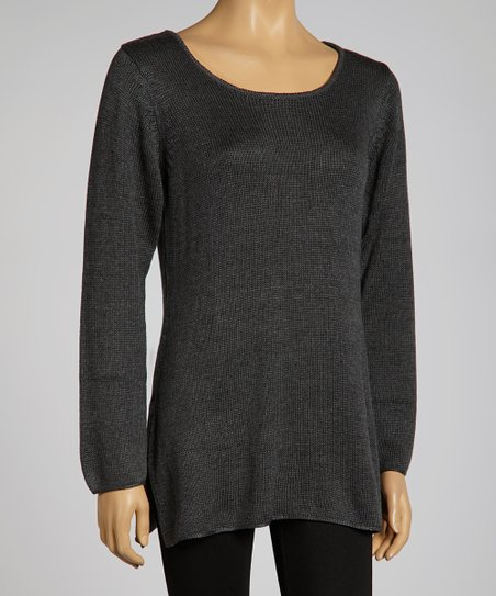 Flannel Scoop Neck Sweater - Women