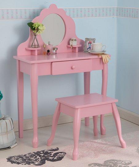Pink Vanity & Stool Set