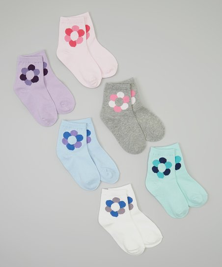 Pink & Blue Flower Socks Set