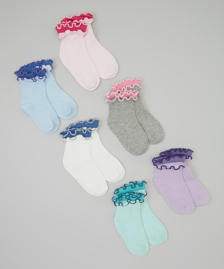 Pink & Purple Ruffle Socks Set