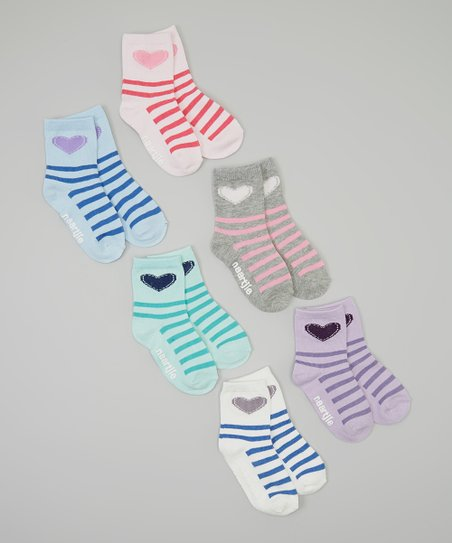 Pink & Purple Stripe Heart Socks Set