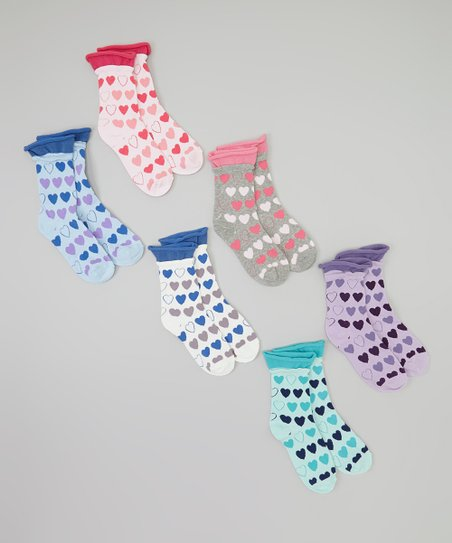 Pink & Blue Heart Roll-Top Socks Set