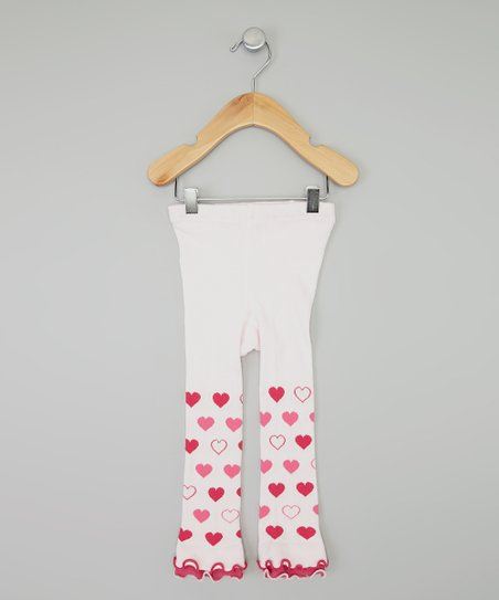 Pink Heart Ruffle Footless Tights - Infant & Girls