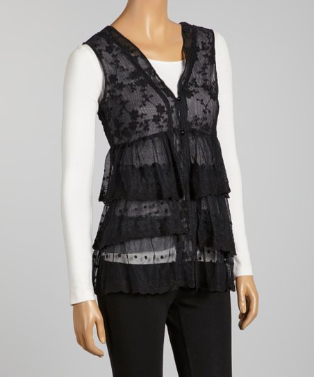 Black Tiered Lace Sleeveless Top