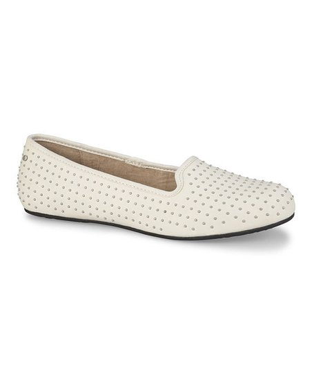 Cream Leather Alloway Studded Slipper - Women