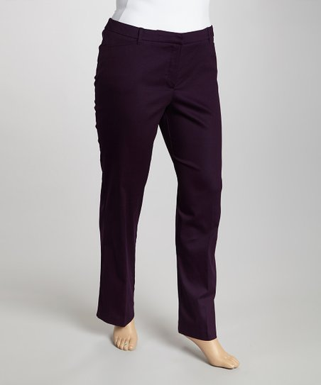 Eggplant Twill Pants - Plus
