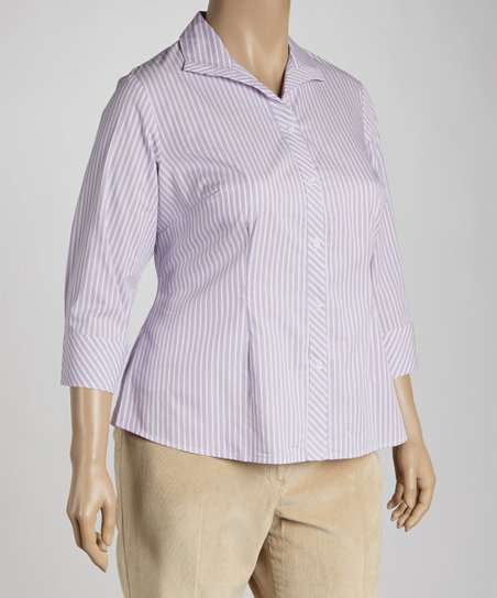 Lilac Stripe Button-Up - Plus