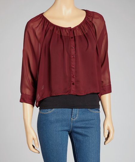 Burgundy Chiffon Button-Up Top