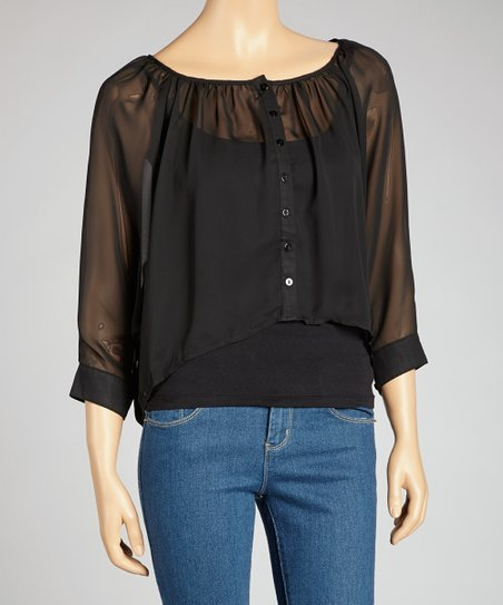 Black Chiffon Button-Up Top
