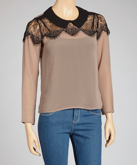 Mocha Lace-Yoke Top