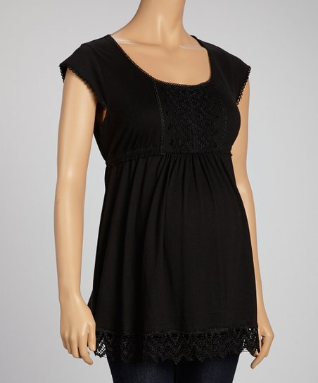 Black Embroidered Square Neck Top