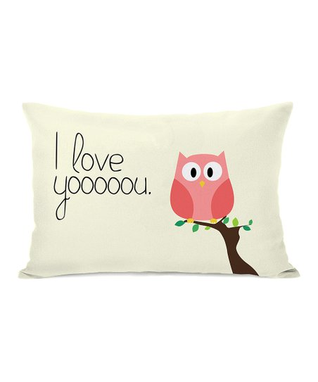 Ivory 'I Love Yooooou' Owl Throw Pillow