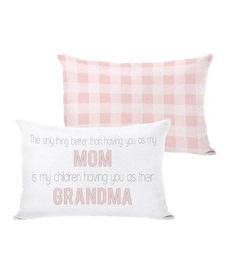 White & Pink 'Mom' & 'Grandma' Throw Pillow