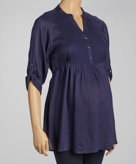 Navy Embroidered Maternity Tunic - Women