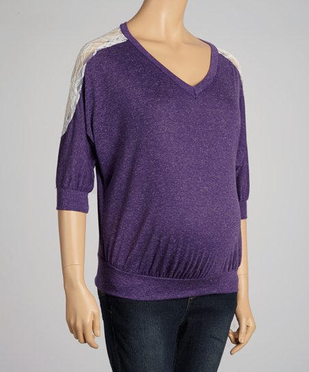 Purple Lace-Shoulder Maternity Top