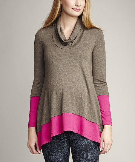 Olive & Fuchsia Color Block Maternity Cowl Neck Top
