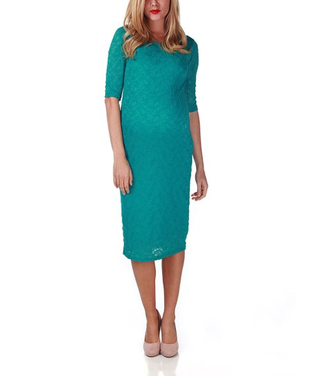 Aqua Lace Maternity Dress - Women