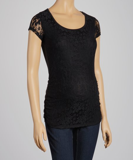 Black Lace Maternity Scoop Neck Top - Women
