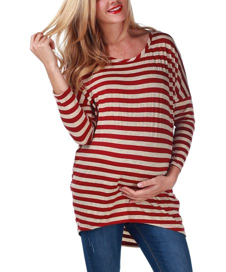 Burgundy & Taupe Stripe Hi-Low Maternity Top