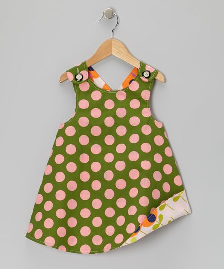 Green Polka Dot Reversible Jumper - Infant, Toddler & Girls