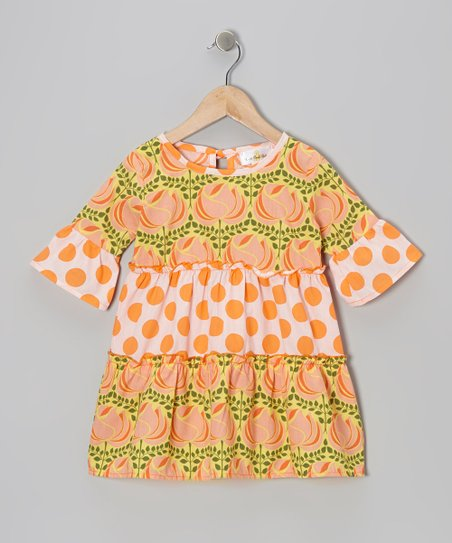 Orange Polka Dot Rose Tiered Dress - Infant, Toddler & Girls