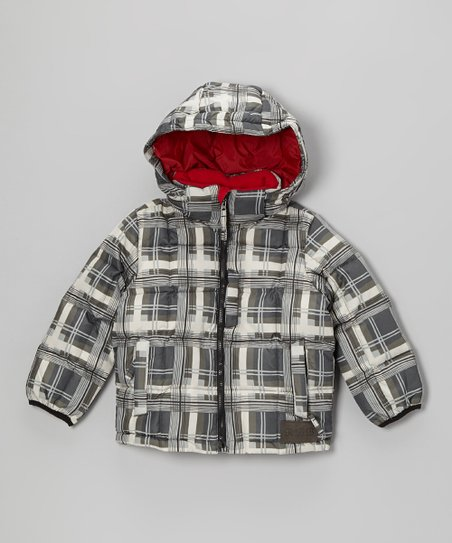 Gray & White Plaid Puffer Coat - Toddler & Boys