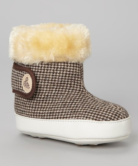 Brown Houndstooth Faux Fur Bootie