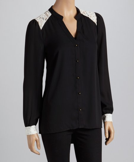 Black & White Lace-Accent Button-Up Top - Women - Women