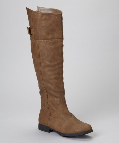 Cognac Land 57 Buckle Knee High Boot