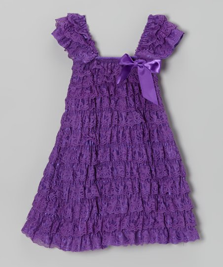 Purple Lace Ruffle Dress - Infant, Toddler & Girls