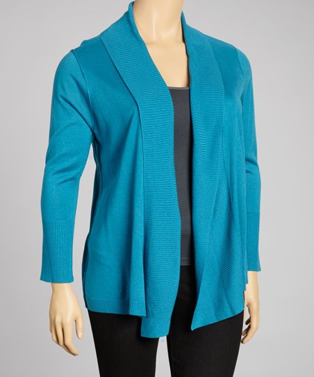 Deep Crystal Blue Long-Sleeve Open Cardigan - Plus