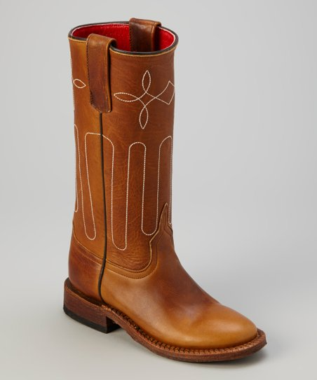 Tan Briar Oil Tan Cowboy Boot - Kids