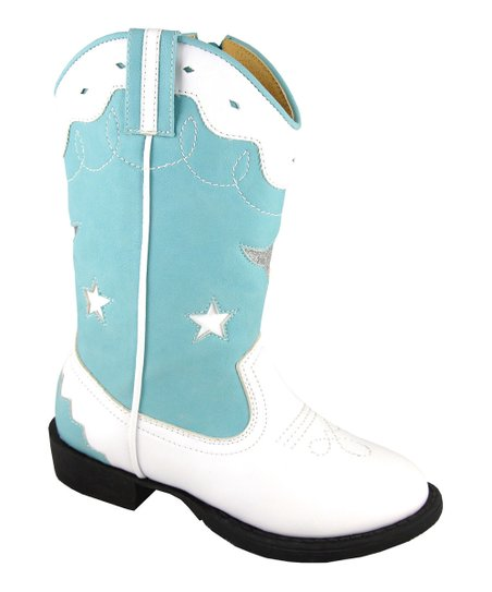 White & Blue Austin Light-Up Cowboy Boot - Kids