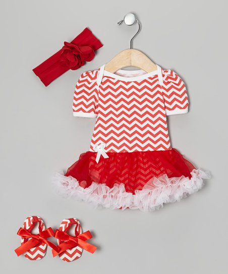 Red Zigzag Skirted Bodysuit Set - Infant