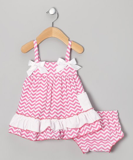 Pink Zigzag Swing Top & Diaper Cover