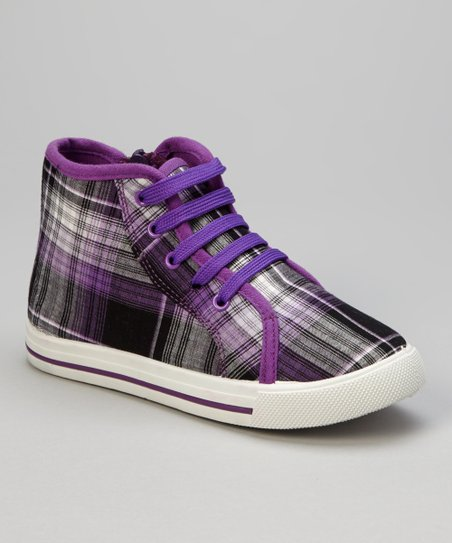 Purple Plaid Hi-Top Sneaker