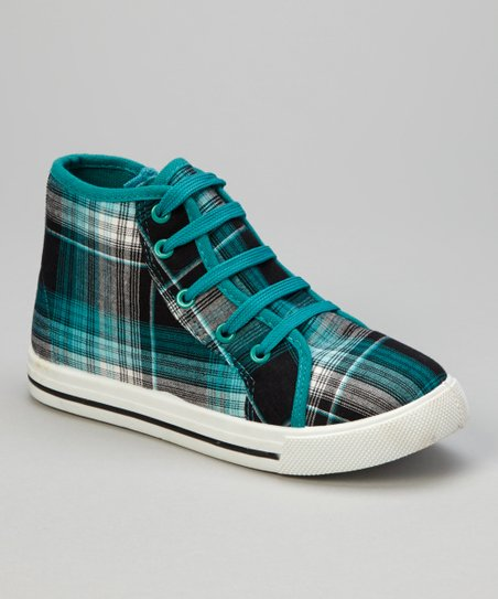 Green Plaid Hi-Top Sneaker