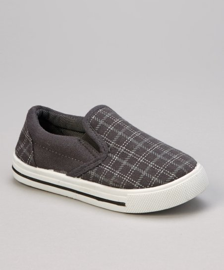 Gray Plaid Slip-On Shoe
