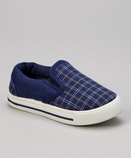 Navy Plaid Slip-On Sneaker