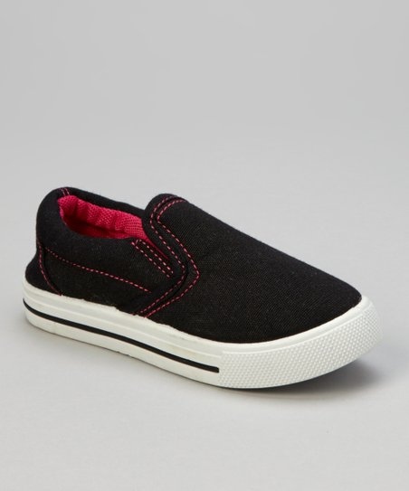 Black & Fuchsia Stitch Slip-On Sneaker