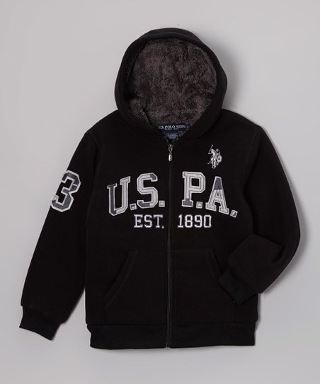 Black 'USPA' Sherpa Zip-Up Hoodie - Boys