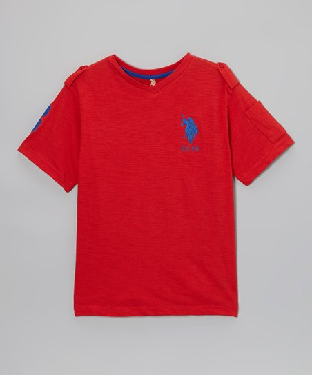 Red V-Neck Tee - Boys