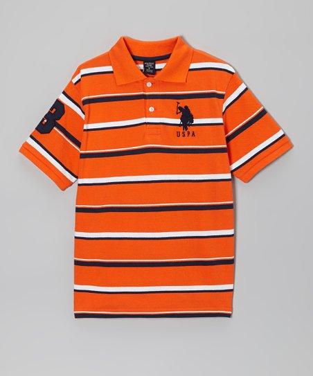 Orange & Navy Stripe Polo - Boys