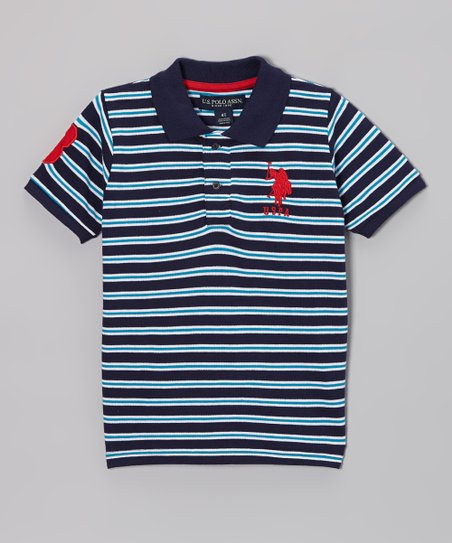 Navy & Turquoise Stripe Polo - Boys