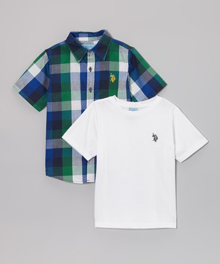 Navy & Green Plaid Button-Up - Toddler