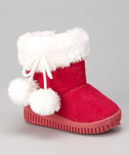 Fuchsia & White Faux Fur Corduroy Boot - Kids