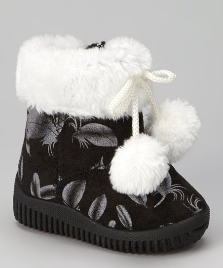 Black Feather Pom-Pom Boot