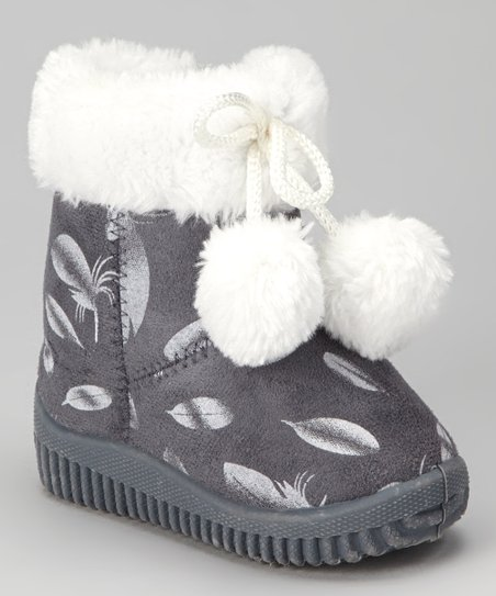 Gray Feather Pom-Pom Boot