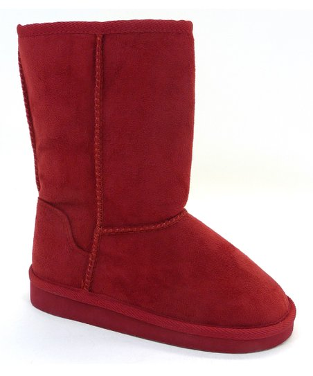Red Faux Fur Soong Boot