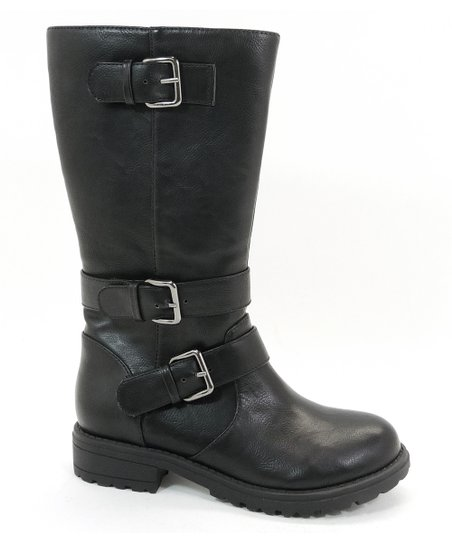 Black Buckle Tulip Boot